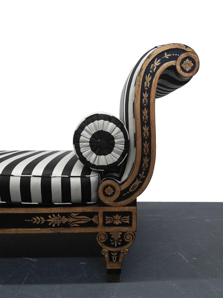 20th Century Vintage Regency Style Cleopatra Chaise Lounge Chair For Sale