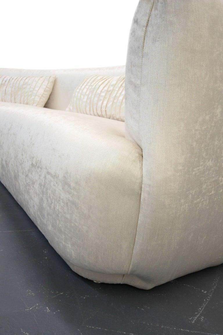 Velvet Large Angled Mid-Century Regency Style Sofa For Sale