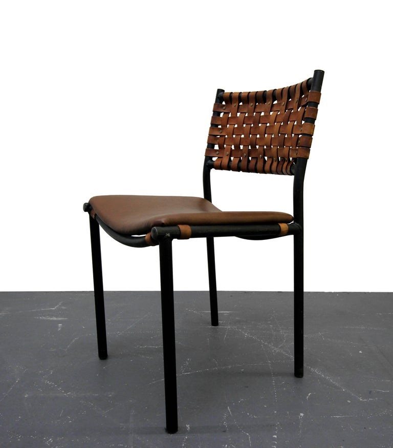 Set Of For Mid Century Industrial Woven Leather Dining