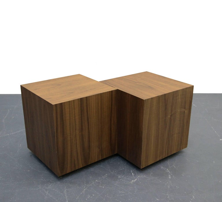Pair Of Mid Century Walnut Plinth Base Cube Side Tables