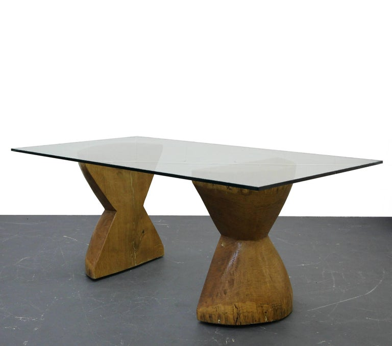 Pair Of Raw Live Edge Wood Hourglass Dining Table Pedestals In Excellent Condition For Sale