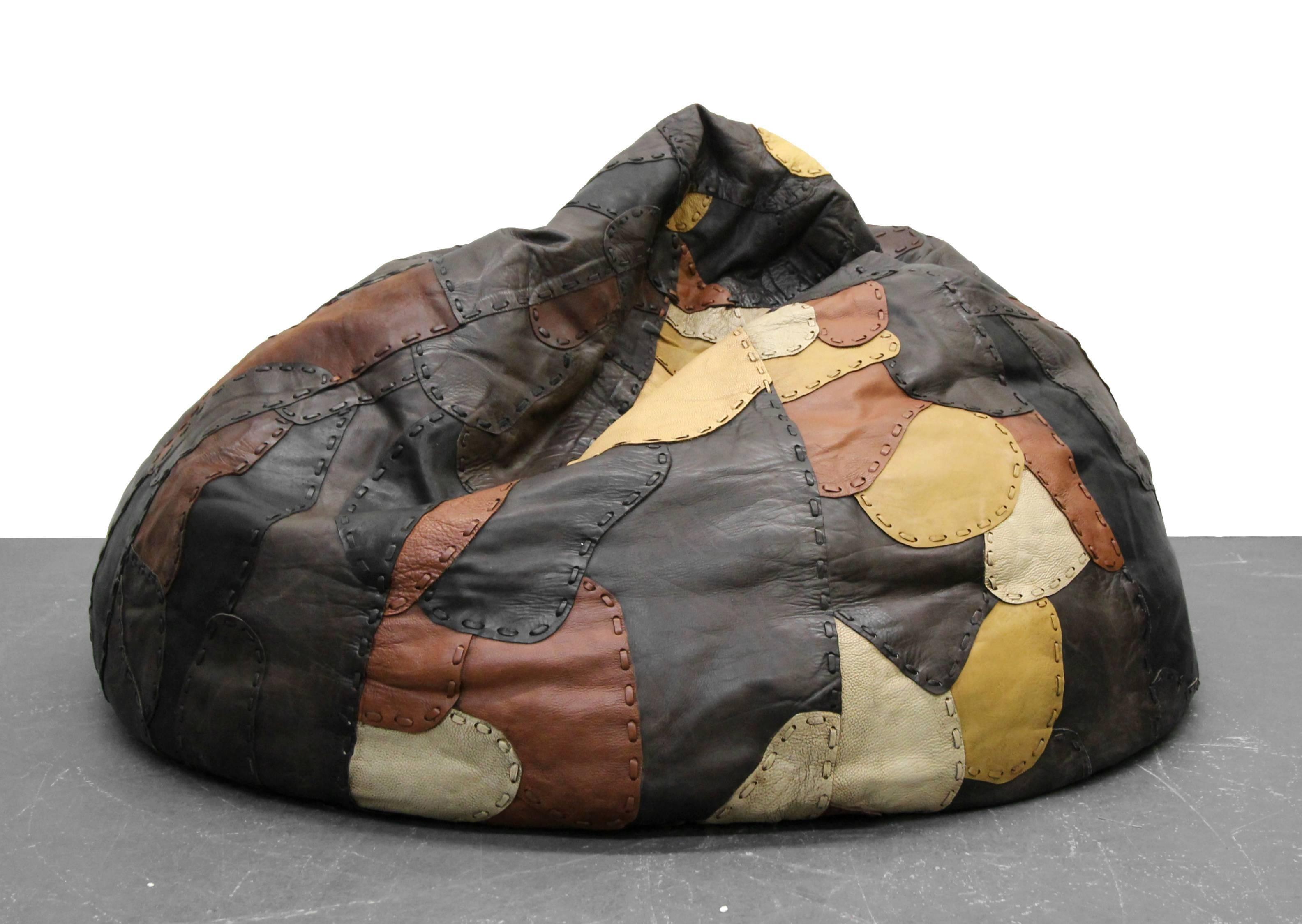 1970s Vintage Leather Patchwork De Sede Style Bean Bag