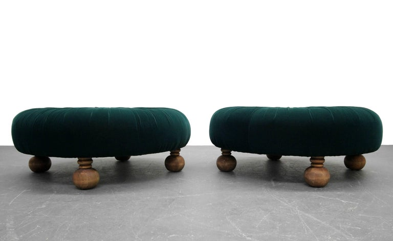 Astonishing Pair Of Antique Emerald Green Velvet Round Button Pleated Evergreenethics Interior Chair Design Evergreenethicsorg
