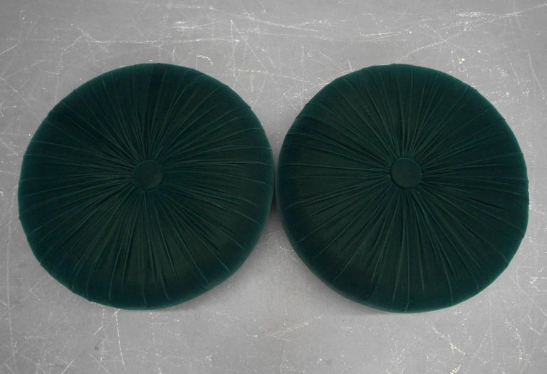 Pair Of Antique Emerald Green Velvet Round Button Pleated