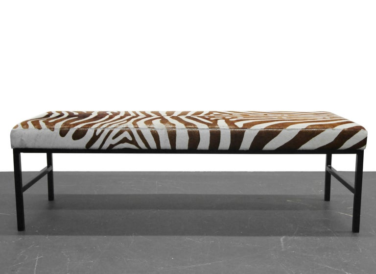 Rare Authentic Brown Zebra Hide Bench In Excellent Condition For Sale In Las Vegas, NV
