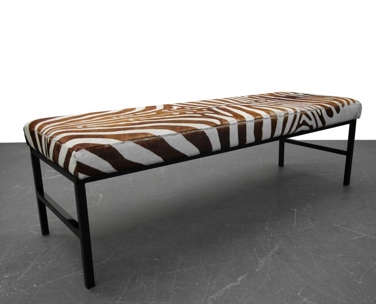 20th Century Rare Authentic Brown Zebra Hide Bench For Sale