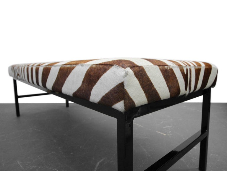 Cut Steel Rare Authentic Brown Zebra Hide Bench For Sale