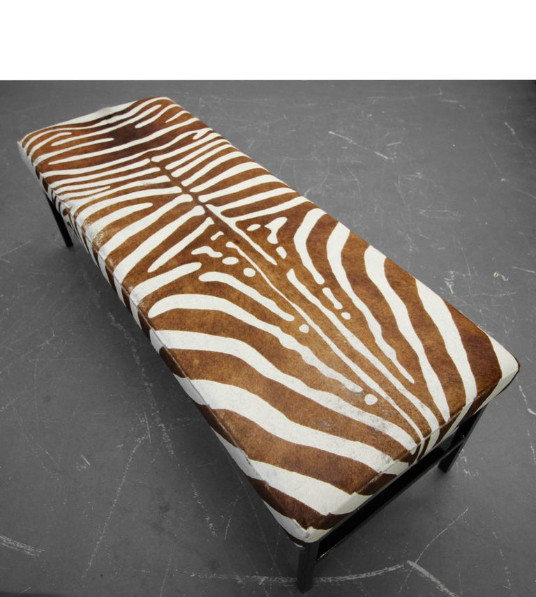 Powder-Coated Rare Authentic Brown Zebra Hide Bench For Sale