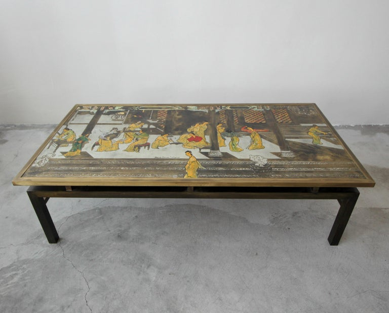 Rare Signed Bronze Chin Ying Coffee Table by Philip and Kelvin LaVerne In Good Condition For Sale In Las Vegas, NV