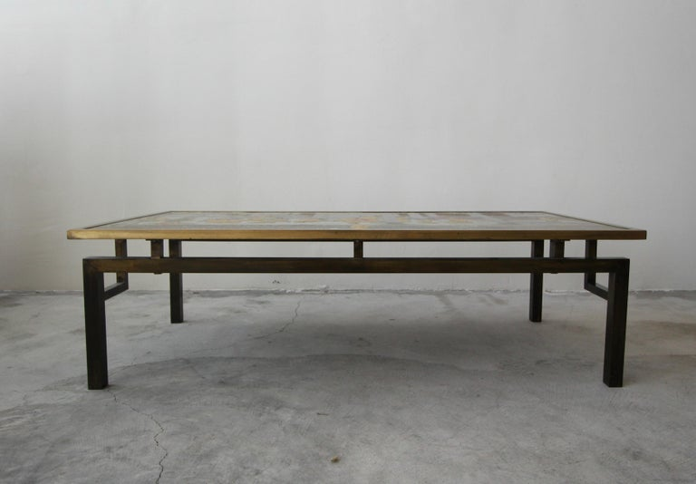 20th Century Rare Signed Bronze Chin Ying Coffee Table by Philip and Kelvin LaVerne For Sale