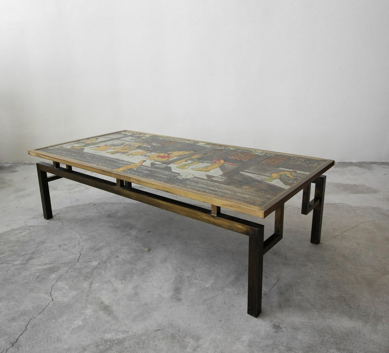 Rare signed bronze Chin Ying coffee table by Philip and Kelvin LaVerne. Table features beautifully patinated, etched bronze and pewter with hand applied enamel.