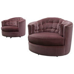 Large Pair of Midcentury Tufted Back Barrel Swivel Chairs by Milo Baughman