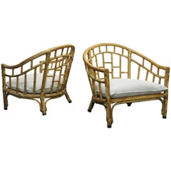 Pair of Oversized Barrel Back Bamboo and Rattan Chairs by Ficks Reed