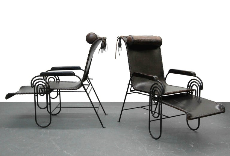 Pair of Art Deco Iron and Leather Rocking Lounge Chairs In Excellent Condition For Sale In Las Vegas, NV