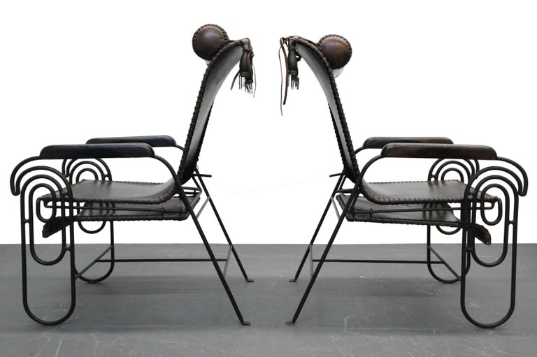 20th Century Pair of Art Deco Iron and Leather Rocking Lounge Chairs For Sale