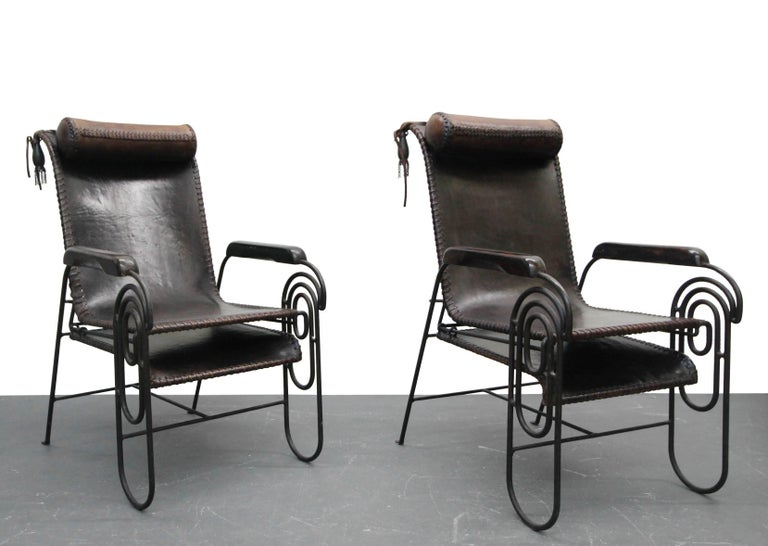 Pair of Art Deco Iron and Leather Rocking Lounge Chairs For Sale 1
