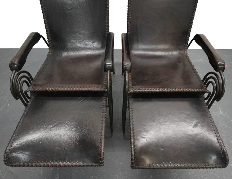 Pair of Art Deco Iron and Leather Rocking Lounge Chairs For Sale 4