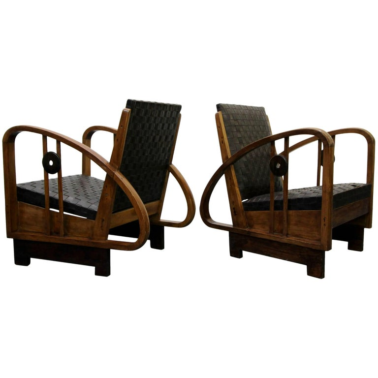 Pair of Antique French Art Deco Bentwood Lounge Chairs with Woven Leather For Sale
