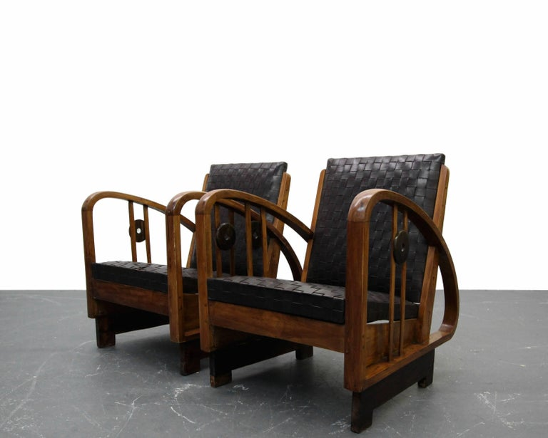 This pair of authentic Art Deco lounge chairs is nothing short of rare and amazing. Petite in size but huge on character and style. These beauties are a site to behold. With all the raw amazing details of furniture of their time combined with rare