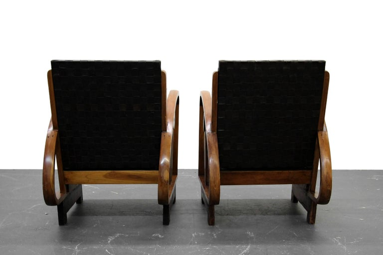 20th Century Pair of Antique French Art Deco Bentwood Lounge Chairs with Woven Leather For Sale