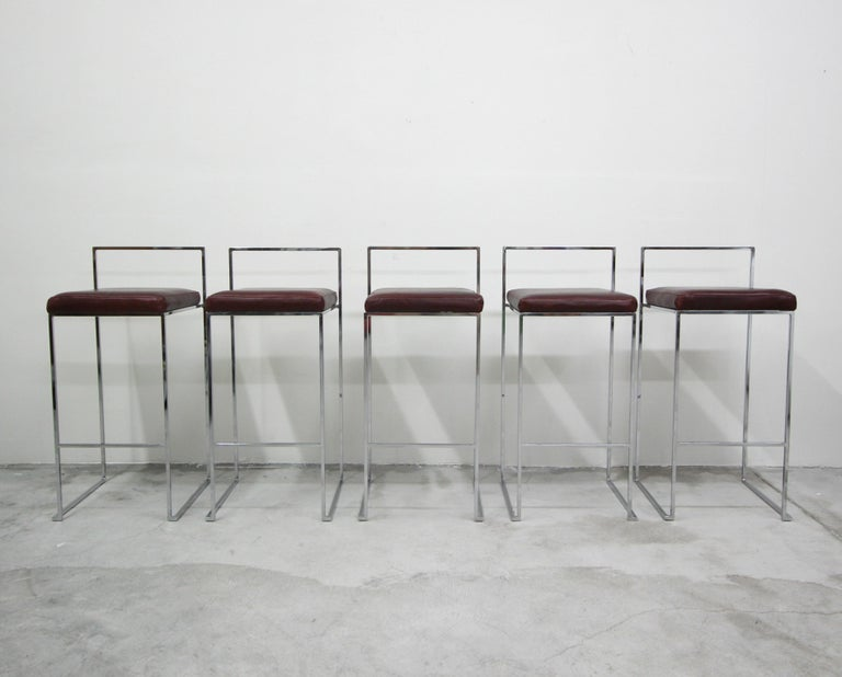 Mid-Century Modern Set of Fivethin Line Chrome and Leather Bar Stools by Milo Baughman For Sale
