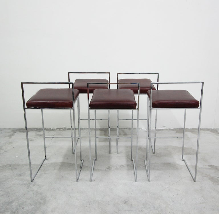 20th Century Set of Fivethin Line Chrome and Leather Bar Stools by Milo Baughman For Sale