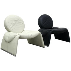 Pair of Black and White Leather Vintage Italian Lounge Chairs