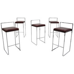 Set of Five Midcentury Thin Line Chrome and Leather Bar Stools by Milo Baughman