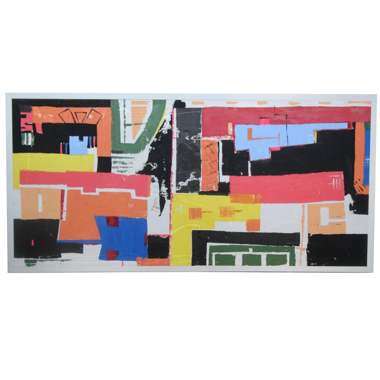Monumental 8 Foot Modern Abstract Acrylic Painting on Canvas For Sale