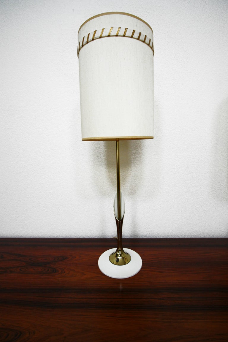 Metal Pair of Midcentury Sculptural Brass Lamps by Laurel Lamp Company For Sale