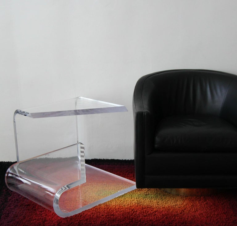 Mid-Century Modern Two-Tier Thick Lucite Midcentury Table After Karl Springer