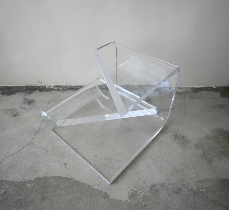 20th Century Two-Tier Thick Lucite Midcentury Table After Karl Springer