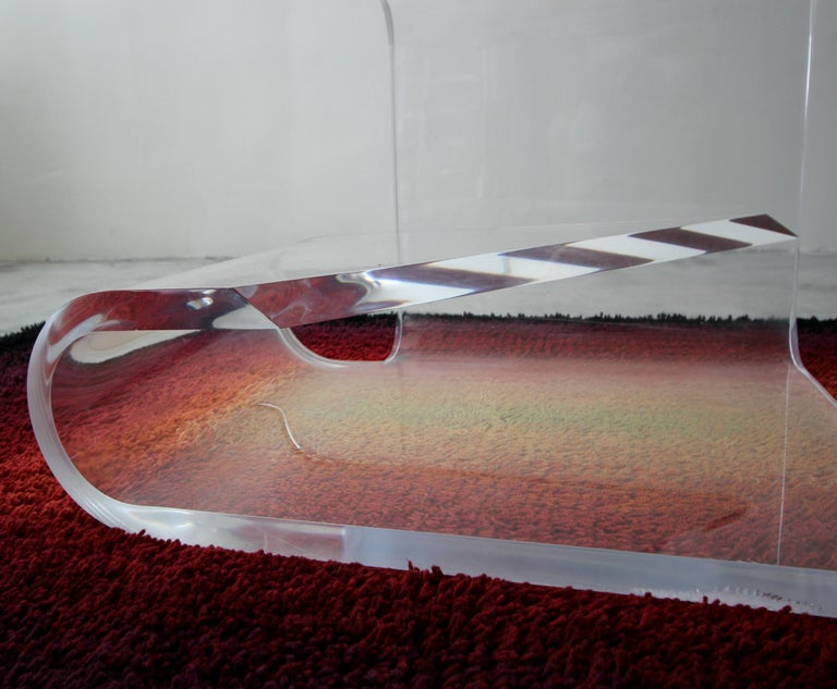Two-Tier Thick Lucite Midcentury Table After Karl Springer 2