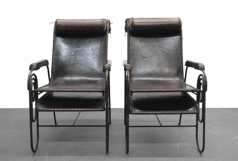 Pair of Art Deco Iron and Leather Rocking Lounge Chairs For Sale 2