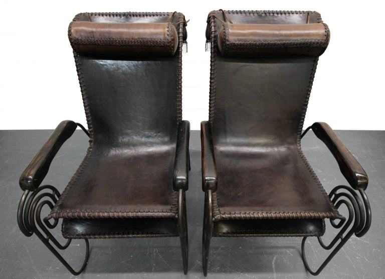 Pair of Art Deco Iron and Leather Rocking Lounge Chairs For Sale 3