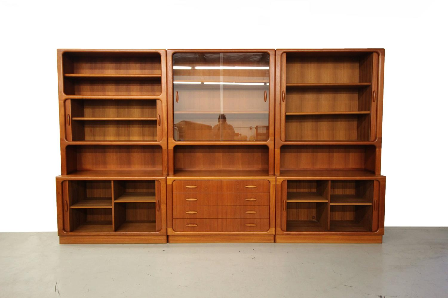 Set of three midcentury danish teak wall unit bookcase Wall unit furniture