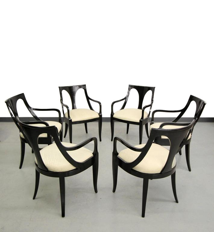 Set Of Six Black Mid Century Modern Dining Chairs By Kindel Furniture 2