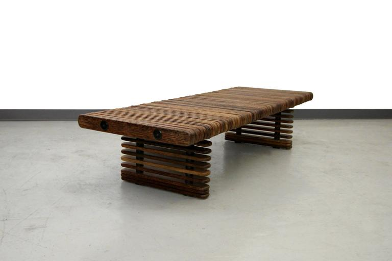 Pacific Green Palmwood Isle D 39 Palm Slatted Bench Coffee Table Image 4