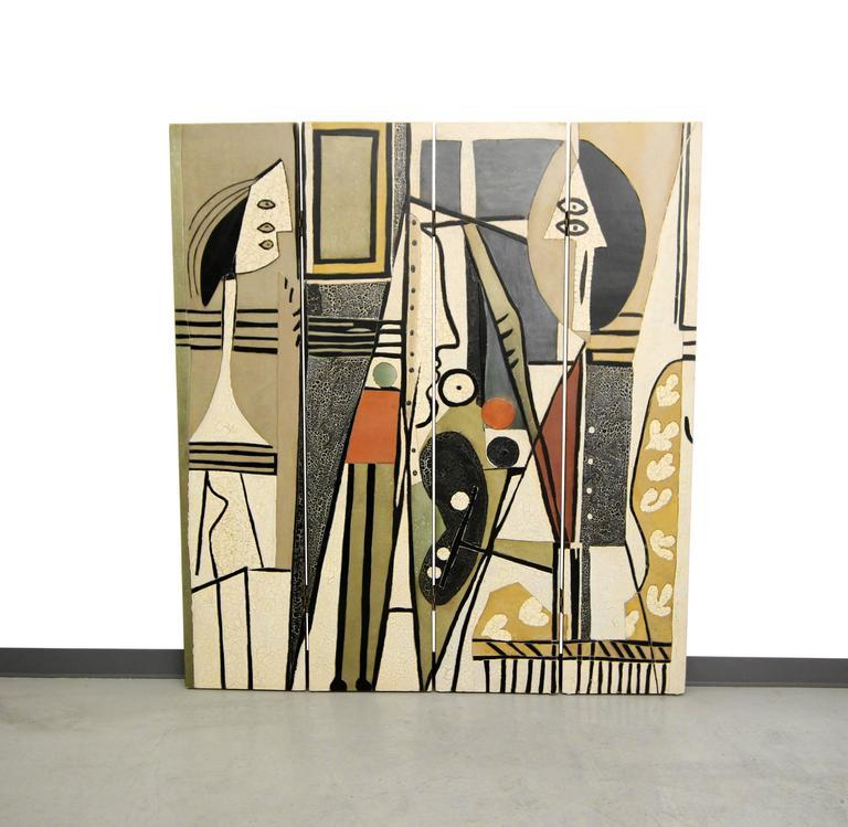 Pablo Picasso Style Quot Painter And Model Quot Folding Four Panel