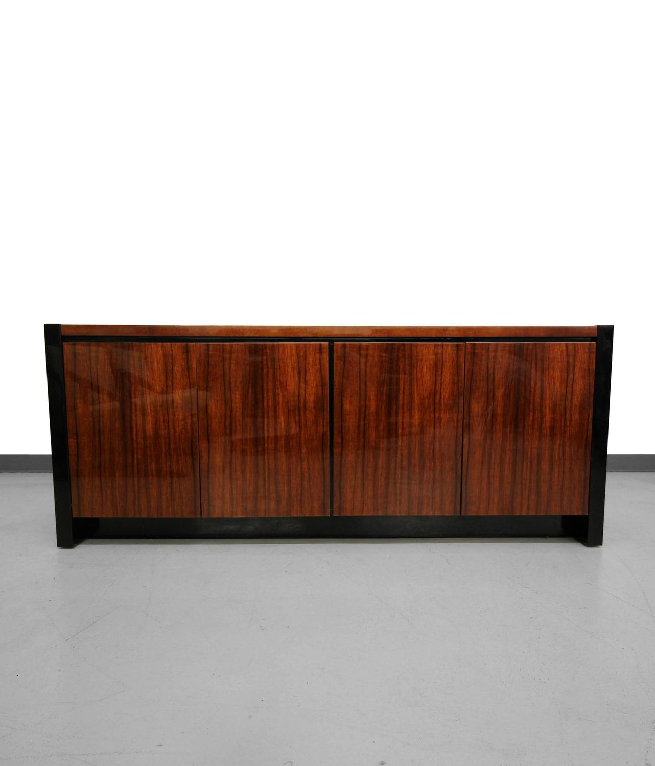 Koa Wood Kitchen Cabinets: Black Lacquer And Koa Wood Credenza By Henredon For Sale At 1stdibs