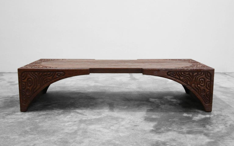 Mid-Century Modern Midcentury Panelcarve Style Carved Wood Coffee Table by Sherrill Broudy For Sale