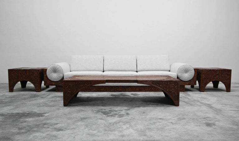 Midcentury Panelcarve Style Carved Wood Coffee Table by Sherrill Broudy For Sale 3