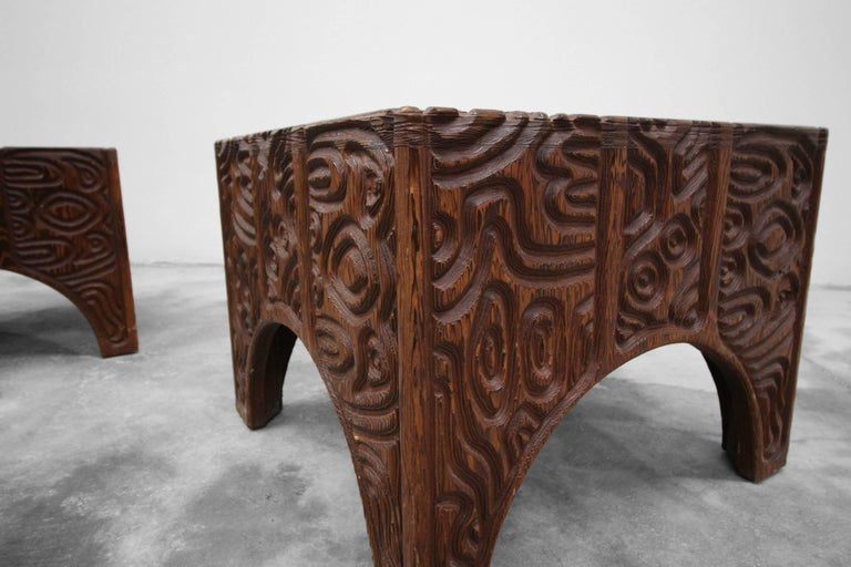 20th Century Midcentury Panelcarve Style Carved Wood Coffee Table by Sherrill Broudy For Sale