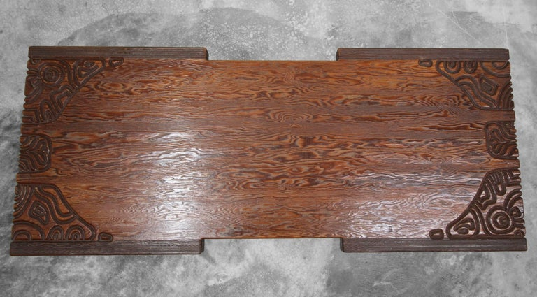 Midcentury Panelcarve Style Carved Wood Coffee Table by Sherrill Broudy In Excellent Condition For Sale In Las Vegas, NV