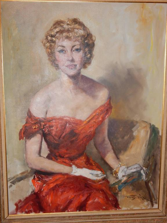 Large Oil On Canvas Of A Pretty Woman By Fried Pal For -7202