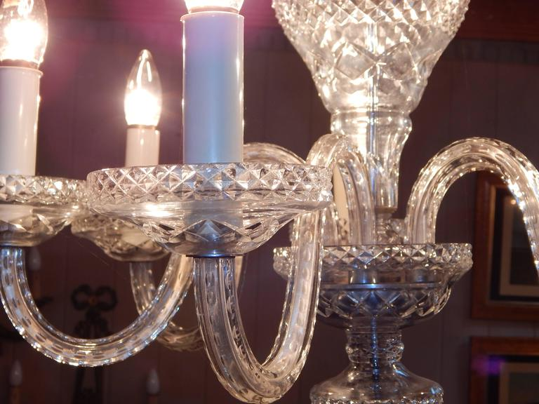 Waterford Style Six-Light Chandelier For Sale 1