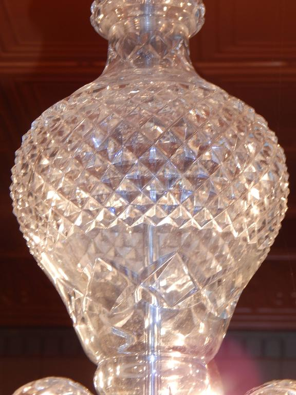Waterford Style Six-Light Chandelier In Good Condition For Sale In Bridgeport, CT