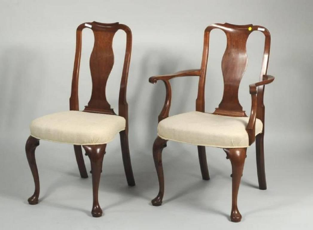 set of 12 classic queen anne style mahogany dining chairs for sale at