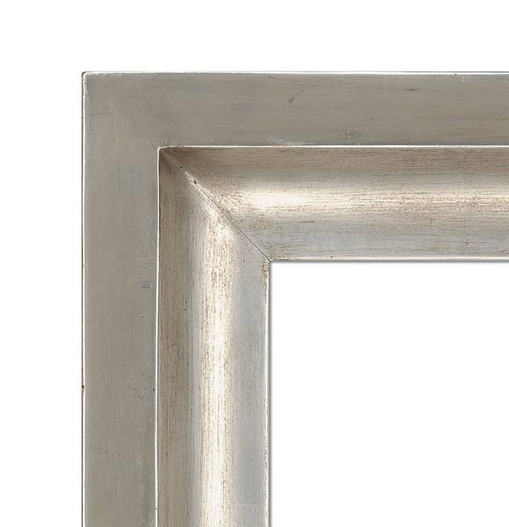 Contemporary white gold leaf cove design mirror. 48