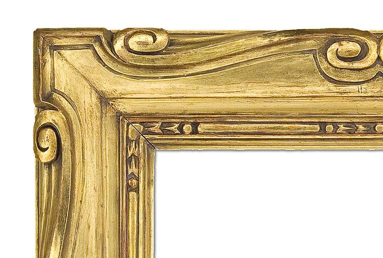 Early 20th century style Arts & Crafts carved and giltwood mirror in the Sansovino style. Measures: 31